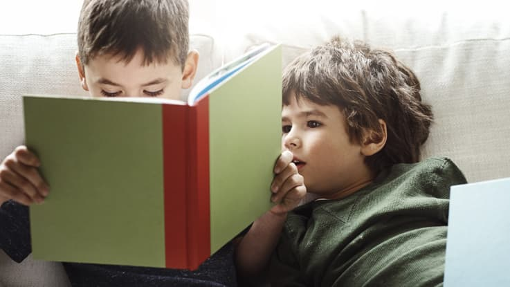 Two boys reading books