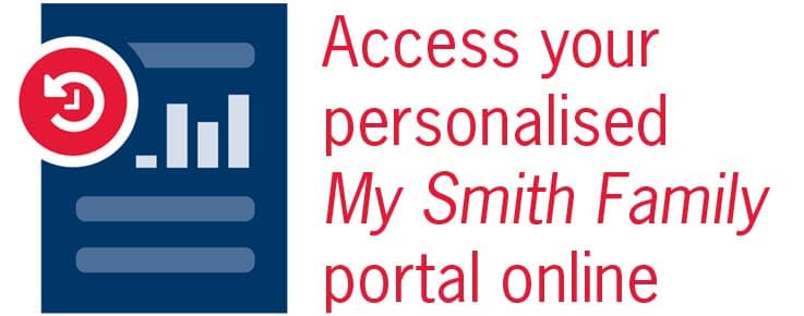 graphic says access your personalised My Smith Family portal online