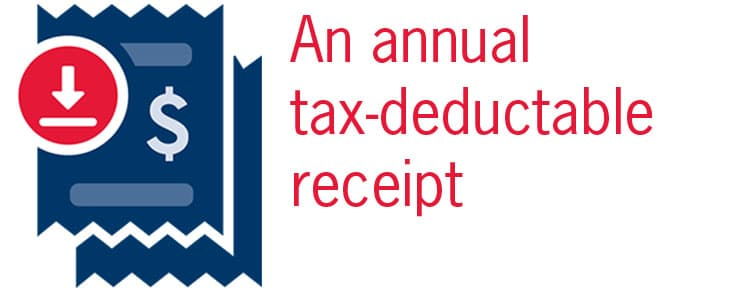graphic says an annual tax deductable reciept