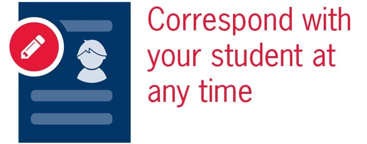 graphic says correspond with your student at any time