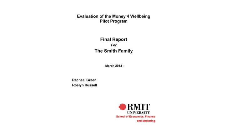 Evaluation of the Money for Wellbeing pilot program - 2013