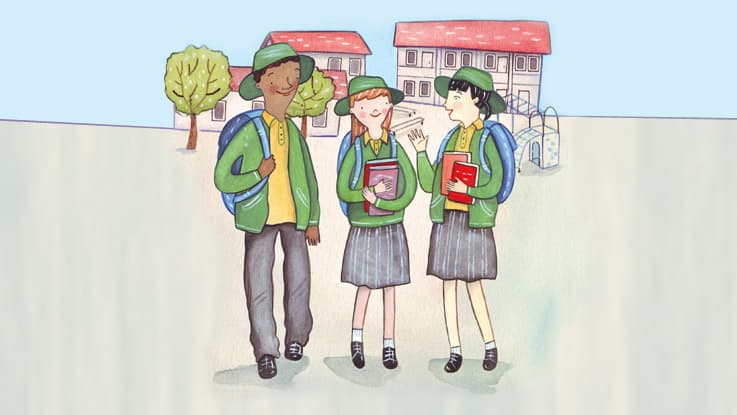 Hand drawn illustration of three students standing in the school grounds holding books and talking