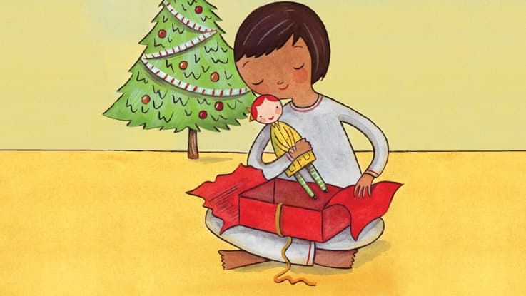 A hand drawn illustration of a little girl opening a Christmas gift