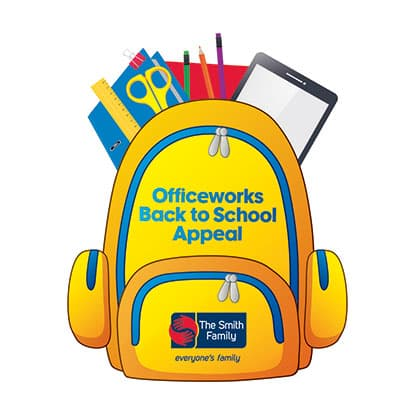 Officework back to school appeal image of backpack printed on backpack shaped donation card