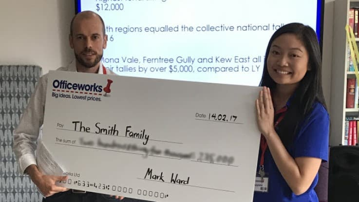 Officeworks cheque presentation February 2017