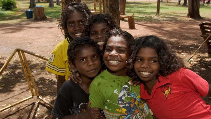 Group of happy Aboriginal girls