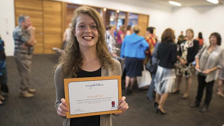 Sophie with certificate